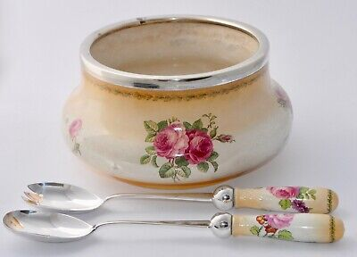 Antique George Jones Crescent China Salad Bowl & Servers Silver Plate Rim Roses