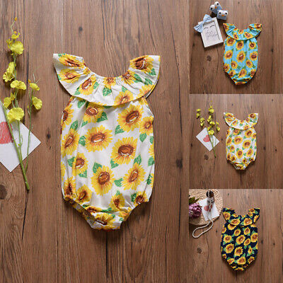 fe6b42ea3856 Newborn Baby Girl Sunflowers Romper Bodysuit Jumpsuit Summer Outfit Clothes