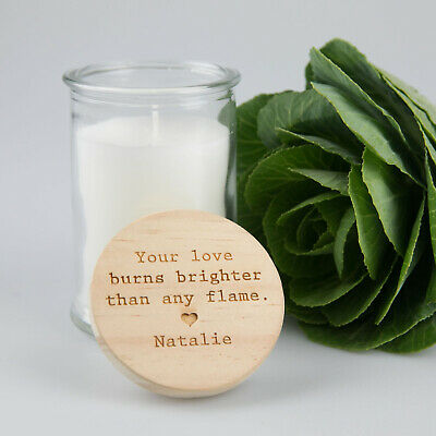 Mothers Day Personalised Engraved Wooden Lid Candle - Special Custom Keepsake