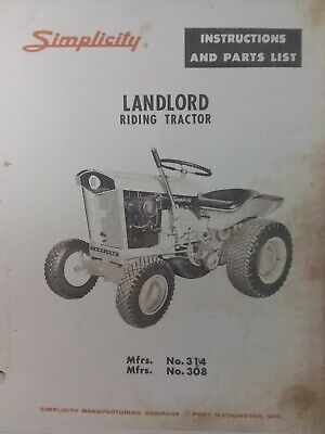 simplicity landlord 1963 lawn garden riding tractor owner & parts manual  314 308