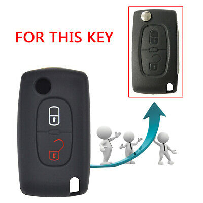 Silicone 2-Buttons Car Key Cover Case For Peugeot 308 207 307 807 Citroen C3 C4