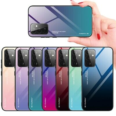 For Samsung Galaxy A50 A30 M20 M10 Gradient Tempered Glass Hard Back Case Cover