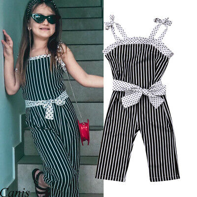 Infant Kid Baby Girl Striped Big Bow Sling Romper Jumpsuit Trouser Outfit Summer