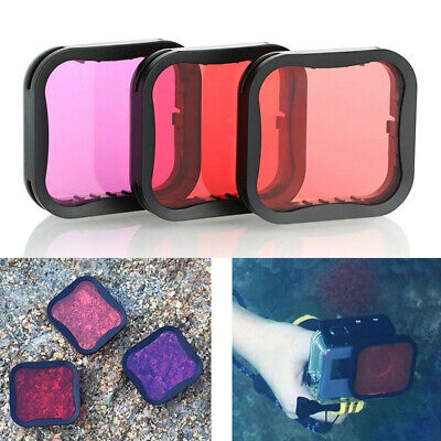 Red Pink Purple Diving Filter Lens Cover For GoPro Hero 7 6 5 Black 3 Colors Kit