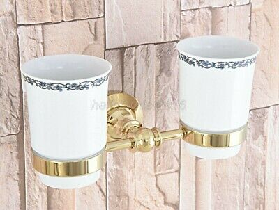 Gold Color Brass Bath Toothbrush Holder Set+ Two Ceramic Cups Wall Mount lba316