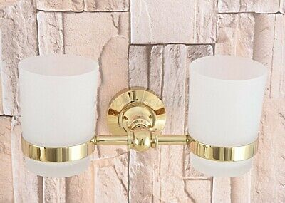 Gold Color Brass Double Tumbler Holder Toothbrush Cup Holder Wall Mount lba317