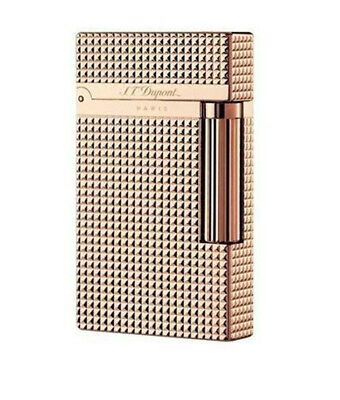 Bright Ping Sound S.T Dupont Lighter Plaid Engraving Lattice Diamond Rose Gold