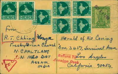 1963 Indian Postcard to religious Magazine Herald Of His Coming