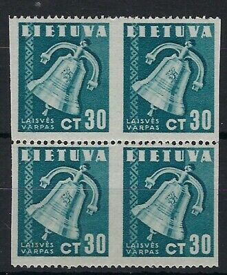 Lithuania 1940 30c Bell block 4 imperf vertically between MNH
