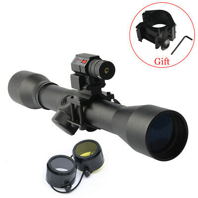 Hunting 4x32 Reticle Sight Scope 25.4mm Barrel Adapter Red Laser Sight Airsoft