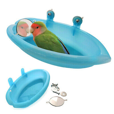 Small Parrot Oval Bird Bathtub Pet Cage Accessories Toy With Bird Mirror