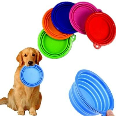 Pet Dog Cat Portable Feeding Bowl Food Water Silicone Collapsible Travel Feeder