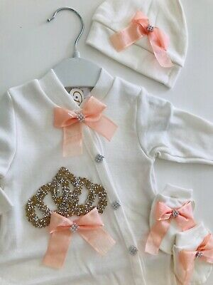 baby girl Clothes crown romper bodysuit growbag hat Baby Clothes Outfit Set Gift