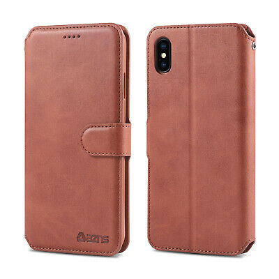 For iPhone XS Max XR Magnetic Flip Card Pocket Wallet Leather Case Stand Cover