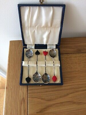 Rare Set Of Playing Card Suite Topped Small Spoons Epns Silver In Original Case