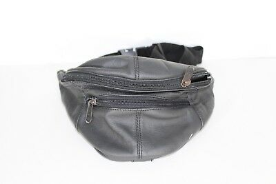 Vintage 90s Stitch Patch Leather Multi-Pocket Festival Fanny Pack Waist Bag