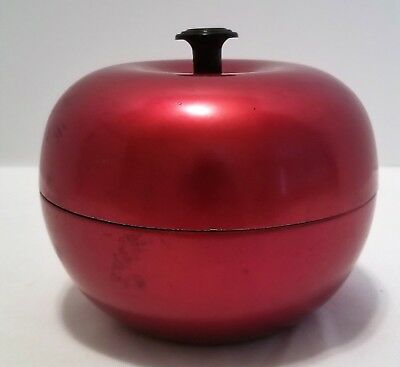 Mid Century Apollo Studios New York A1164 Small Metal Red Apple Canister Box