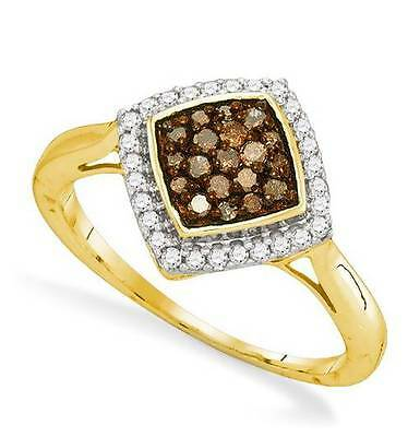 10K Yellow Gold Chocolate Brown Diamond Ring Halo Cluster White Accents .33ct