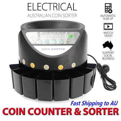 Coins Counter Sorter Machine LED Display Digital Automatic Electronic Australian