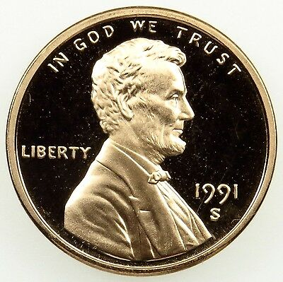 1991 S Deep Cameo Proof Lincoln Memorial Cent Penny (B03)