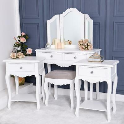 White Dressing Set Pair Of Bedside Table Bedroom Furniture Ornate French Chic