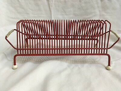 1950s/1960s VINTAGE RETRO DESIGN SPUTNIK ATOMIC METAL WIRE VINYL RECORD RACK R06