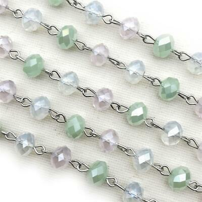 Purple Blue Green Crystal Rondelle Beaded Rosary Silver Eyepin Chain 8x6mm 2ft