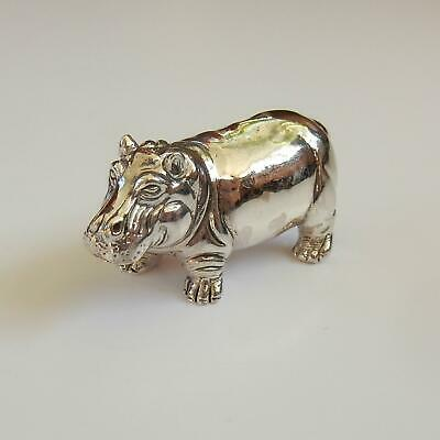 Solid Silver Hippo Charm Miniature