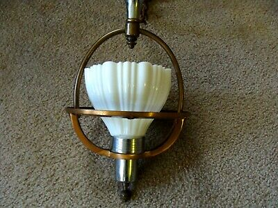 Vintage Hanging Pendant Hall Light Art Deco Unusual Smaller Chrome Copper Office