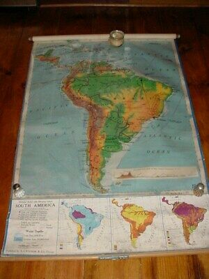 Vintage 1965 SOUTH AMERICA Nystrom School Pull Down Map  W/ RARE OVERLAYS