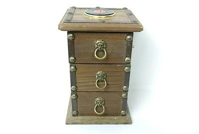 London Leather Vintage Record Wooden Jewelry Music Box