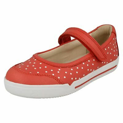 Girls Clarks Casual Mary Jane Styled Hook & Loop Leather Shoes Emery Halo K