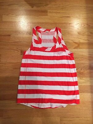 Women's J. Crew Red & White Striped Razorback Tank Top, Size Small Gently Used