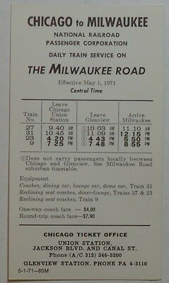 MILWAUKEE ROAD RAILROAD - Amtrak 1971 Timetable - Chicago-Milwaukee 5-1-71