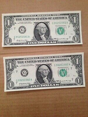 2 1969 One Dollar Currency Consecutive Number Bill Federal Reserve Note