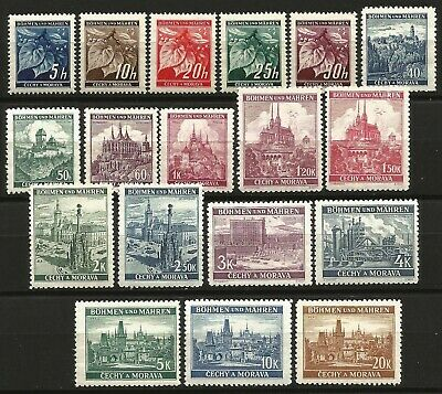 Germany Reich Bohemia/Moravia 1939 MNH Definitives Linden Branch Views Full Set