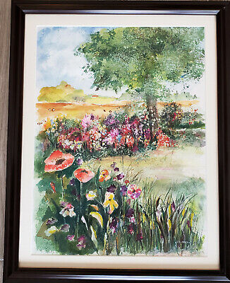 """Suzanne Obrand, Holocaust Survivor, Framed Watercolor Painting """"Flower Field"""""""