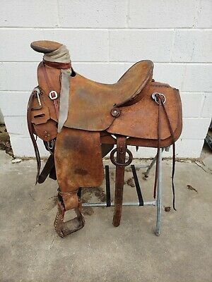 USED WADE SADDLE 14 15 16 17 18 Trail Ranch Roping Leather