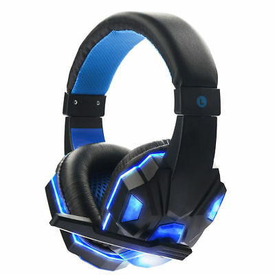 3.5mm Gaming Headset Mic BLUE LED Headphones For PC PS4 Xbox one 360 Laptop