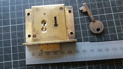 vintage Solid Brass-Cabinet-Till  lock  70mm 1 Key 4 lever.(045)