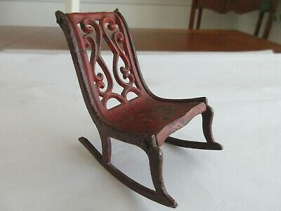 Antique,dollhouse size,cast iron,chair,miniature,VERY NICE FOR YOUR ANTIQUE DOLL