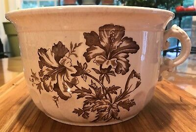 Vtg Handle White Ironstone Chamber Pot Brown Hibiscus Floral Transferware