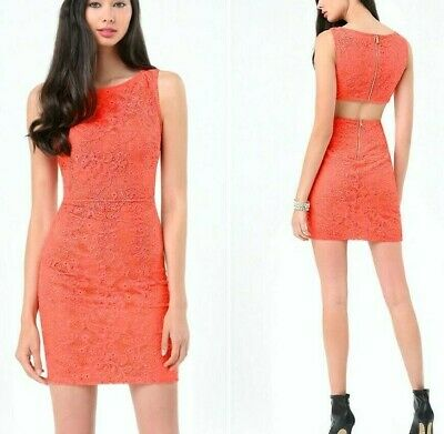 NWT bebe coral overlay lace cutout back round neck zip back top dress M medium 8