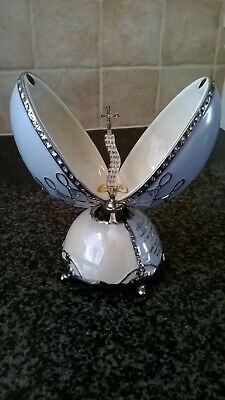 Heirloom Porcelain Musical Egg Hand Painted Jeweled Egg Opens Up Crystal CROSS