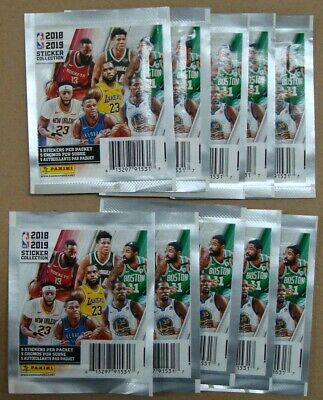 2018-19 Panini Nba Stickers Collection 10 Packs With 5 Stickers Per Pack