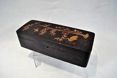 Antique Oriental Japanese Chinese Lacquer Box Bird Crane Bamboo