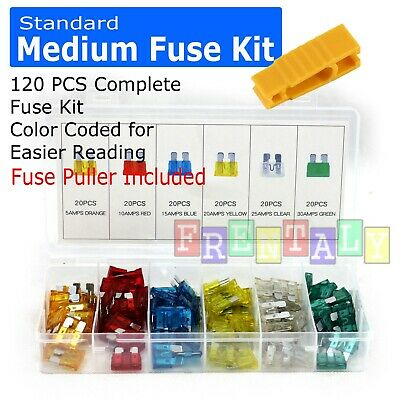 Mini Car Fuse Assortment Assorted Kit Blade Set Auto 120 pc Truck Automotive
