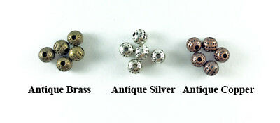 Antique Copper Brass Silver Plated Lead Free Alloy 6mm Round Dimpled Beads Q50