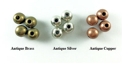 Antique Copper Brass Silver Plated Lead Free Alloy 10mm Smooth Round Beads Q16