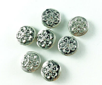 Antique Silver Plated Lead Free Alloy 10mm Sakura Cherry Flower Coin Beads Q30